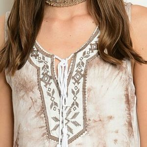 Tops - Embroidered Tie Dye Top
